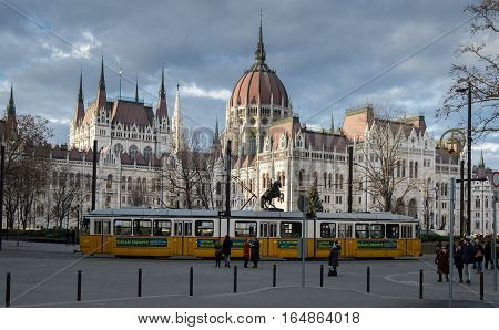Budapest Parliament At Daylight. Hungary