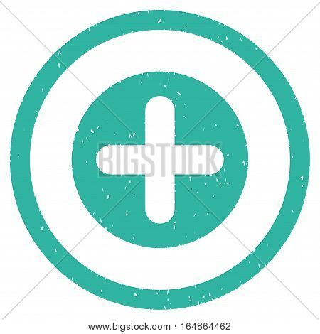 Create rubber seal stamp watermark. Icon vector symbol with grunge design and dirty texture. Scratched cyan ink sign on a white background.