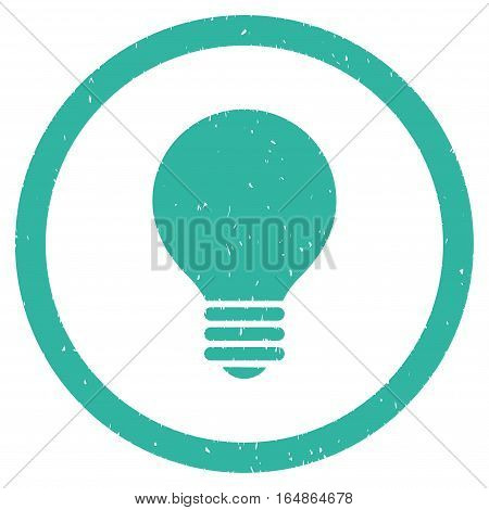 Electric Bulb rubber seal stamp watermark. Icon vector symbol with grunge design and corrosion texture. Scratched cyan ink emblem on a white background.