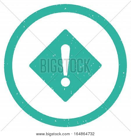 Error Rhombus rubber seal stamp watermark. Icon vector symbol with grunge design and dust texture. Scratched cyan ink sign on a white background.