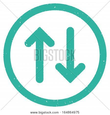 Flip rubber seal stamp watermark. Icon vector symbol with grunge design and corrosion texture. Scratched cyan ink sign on a white background.