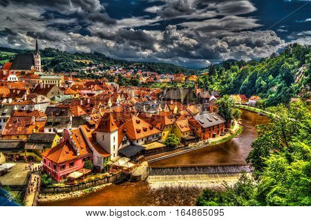 Aerial view to Cesky Krumlov Czech Republic