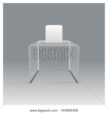 Glass rack shelf podium isometric realistic design vector illustration