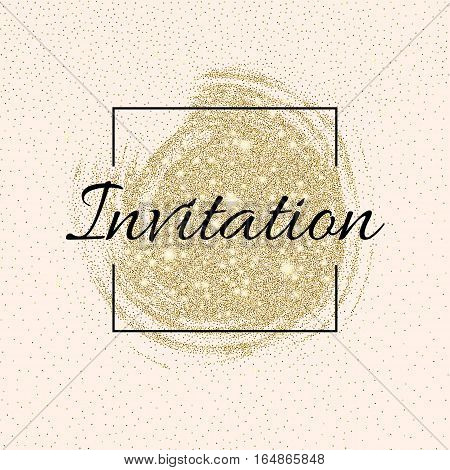 Invitation card with golden sparkling stars and glittering elements with place for your text. For greeting cards design, invitational posters, web banners. Invitation on wedding or birthday