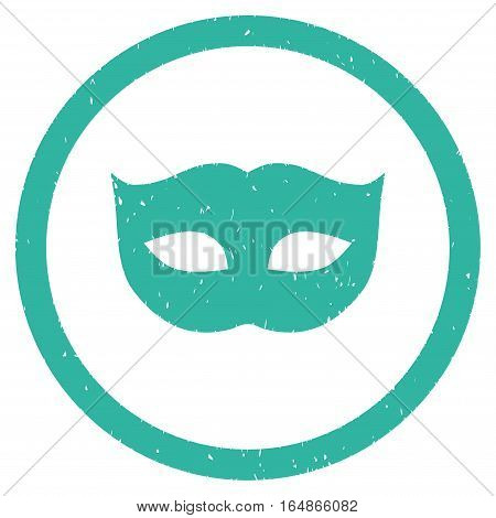 Privacy Mask rubber seal stamp watermark. Icon vector symbol with grunge design and dirty texture. Scratched cyan ink sign on a white background.