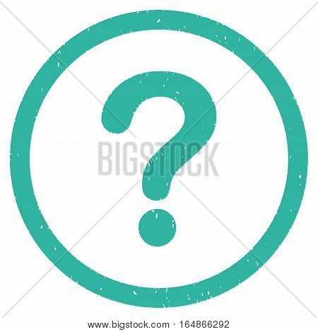 Question rubber seal stamp watermark. Icon vector symbol with grunge design and dirty texture. Scratched cyan ink emblem on a white background.