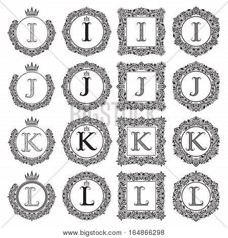 Vintage monograms set of I J K L letter. Heraldic coats of arms in wreaths round and square frames. Black symbols on white.
