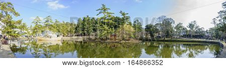 Lake In The Famous And Historical Todaiji Of Nara Park