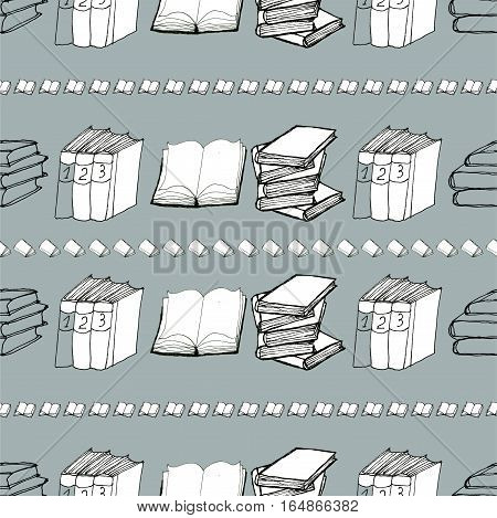 Seamless vector doodle pattern with books. Library hand drawn sketchy background. Reading and education concept.