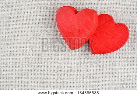 Heart On Cloth Background