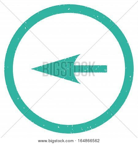 Sharp Left Arrow rubber seal stamp watermark. Icon vector symbol with grunge design and dirty texture. Scratched cyan ink sign on a white background.