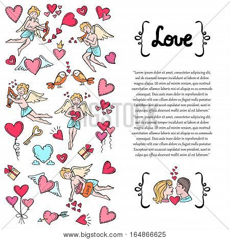 Cover with hand drawn decorative colored symbols of Valentine's Day on white background. Illustration on the theme of love feelings relationships wedding. Vector background for use in design