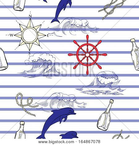 Nautical seamless pattern with  dolphins and sea knots. Hand drawn elements for summer holidays. Travel, sea and ocean. Vector Illustration