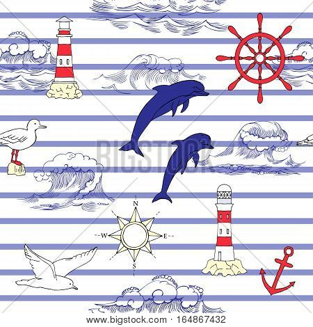 Nautical seamless pattern with and wheels and  dolphins. Hand drawn elements for summer holidays.Travel, sea and ocean. Vector Illustration