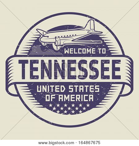Grunge rubber stamp or tag with airplane and text Welcome to Tennessee United States of America vector illustration