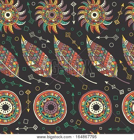 EthnPattern of dream catcher and feathers. Ethnic seamless pattern in native style. Bright colored feathers and beads on white background. Vector decorative elements hippieic seamless pattern with feathers and circles.