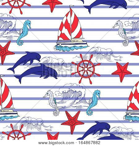 Nautical seamless pattern with ships and wheel, seahorse, sailing boats,  dolphins. Hand drawn elements for summer holidays.Travel, sea and ocean. Vector Illustration