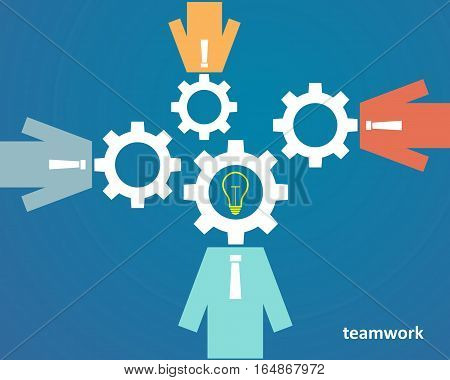 the concept of teamwork - people with heads of gears