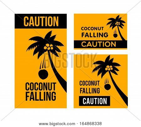 Falling coconuts caution, isolated vector illustration posters