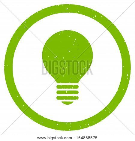 Electric Bulb rubber seal stamp watermark. Icon vector symbol with grunge design and corrosion texture. Scratched eco green ink sign on a white background.