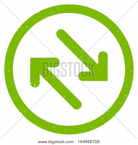 Flip Diagonally rubber seal stamp watermark. Icon vector symbol with grunge design and corrosion texture. Scratched eco green ink emblem on a white background.