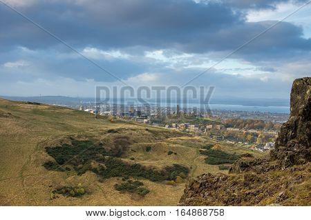 Edinburgh Calton hill as seen from Arthur's seat