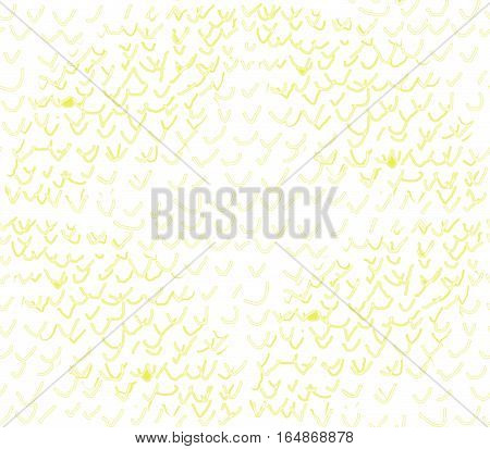 Abstract seamless pattern on a white background yellow thick and thin hand drawn jackdaws