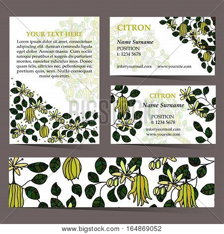 Tropical card set for different invitations, voucher, coupon code, promotional flyers. Citron business cards. Seamless pattern is masked.
