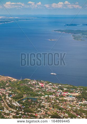 Aerial view from above the town Tetyushi loceted on the bank of Great river Volga in summer