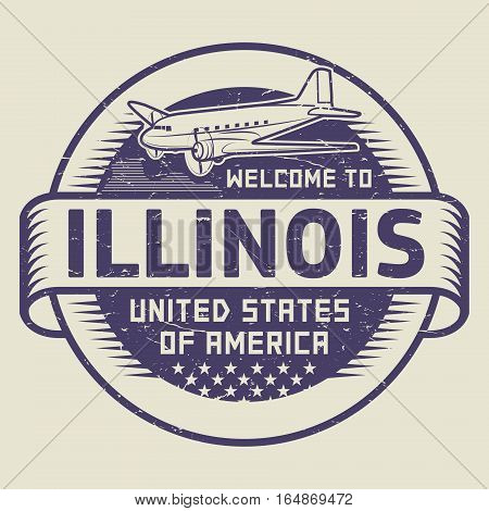 Grunge rubber stamp or tag with airplane and text Welcome to Illinois United States of America vector illustration
