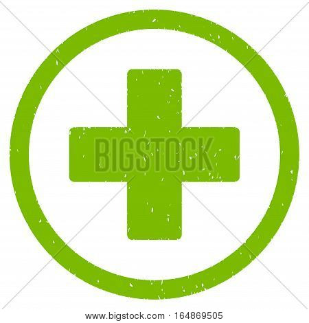 Plus rubber seal stamp watermark. Icon vector symbol with grunge design and unclean texture. Scratched eco green ink emblem on a white background.