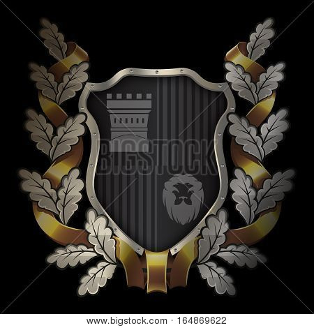 Medieval black shield with chrome riveted border and oak wreath with gold ribbon on black background for the design.