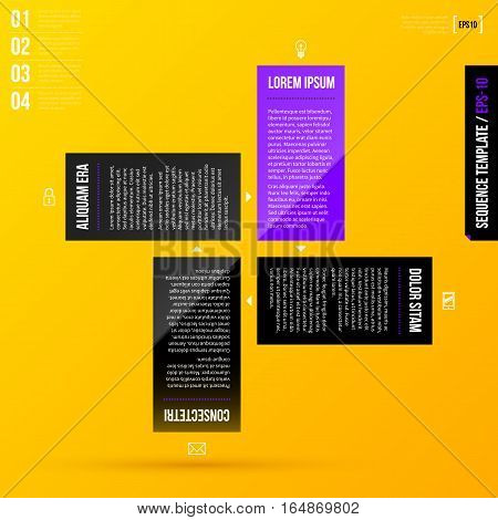 Tutorial Template With 4 Steps On Bright Yellow Background. Eps10
