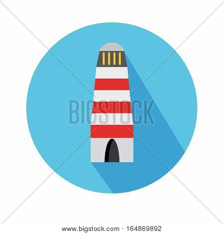 Flat Icon With Lighthouse And Long Shadow For Travel