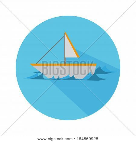 Flat Icon With Boat And Waves Long Shadow For Travel