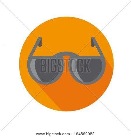 Flat Icon With Sunglasses Long Shadow For Travel