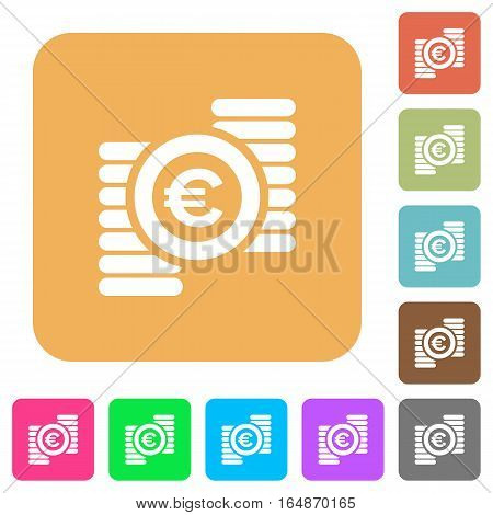 Euro coins flat icons on rounded square vivid color backgrounds.
