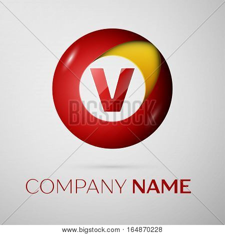 Letter V vector logo symbol in the colorful circle on grey background. Vector template for your design