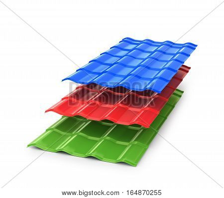 Colorful metal sheets. Cover for buildings and houses. 3D illustration