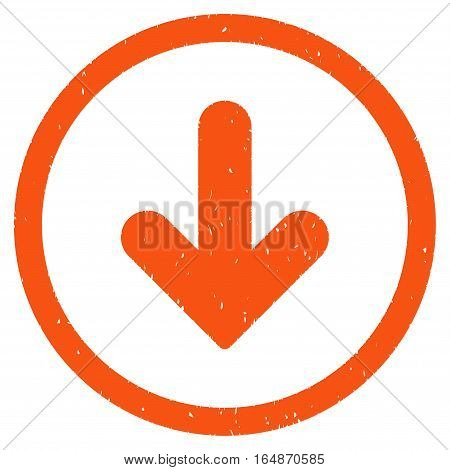Arrow Down rubber seal stamp watermark. Icon vector symbol with grunge design and dirty texture. Scratched orange ink emblem on a white background.