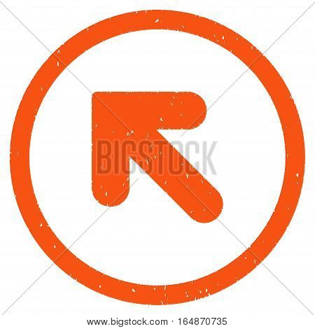 Arrow Up Left rubber seal stamp watermark. Icon vector symbol with grunge design and corrosion texture. Scratched orange ink emblem on a white background.