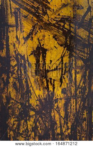 Yellow Paint Peeling Off A Metal Plate, Background.