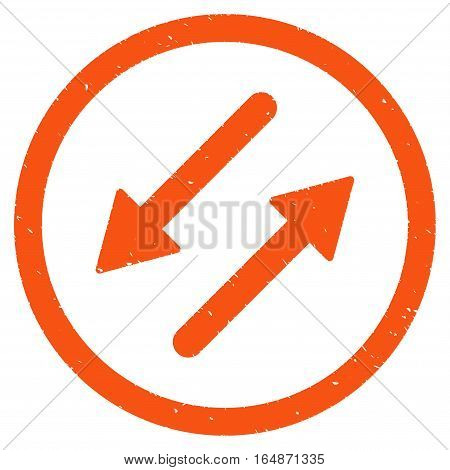 Diagonal Exchange Arrows rubber seal stamp watermark. Icon vector symbol with grunge design and corrosion texture. Scratched orange ink sticker on a white background.