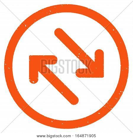 Flip Diagonally rubber seal stamp watermark. Icon vector symbol with grunge design and dust texture. Scratched orange ink emblem on a white background.