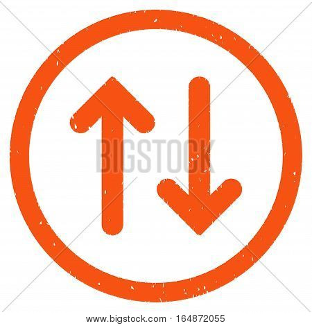 Flip rubber seal stamp watermark. Icon vector symbol with grunge design and dust texture. Scratched orange ink sticker on a white background.