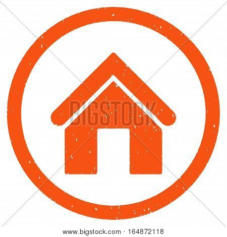 Home rubber seal stamp watermark. Icon vector symbol with grunge design and corrosion texture. Scratched orange ink sticker on a white background.