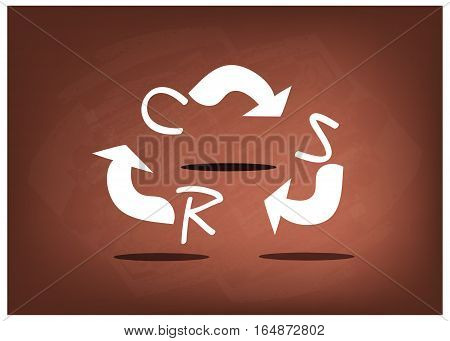 Business Concepts Ecology Icon with CSR Abbreviation or Corporate Social Responsibility on Black Chalkboard.