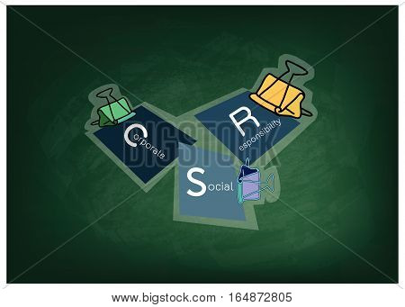 Business Concepts Binder Clips with CSR Abbreviation or Corporate Social Responsibility Achieve Notes on Green Chalkboard.