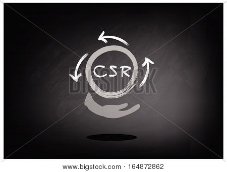 Business Concepts Recycle Icon with CSR Abbreviation or Corporate Social Responsibility on Black Chalkboard..