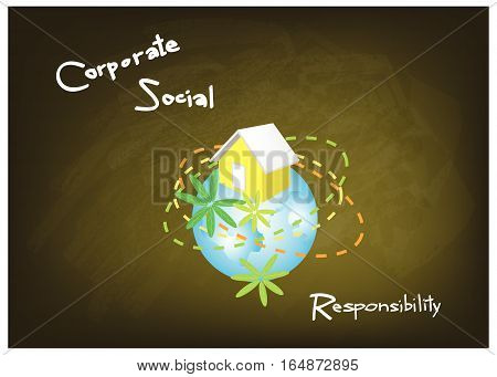 Business Concepts World Environment with CSR Abbreviation or Corporate Social Responsibility on Green Chalkboard.